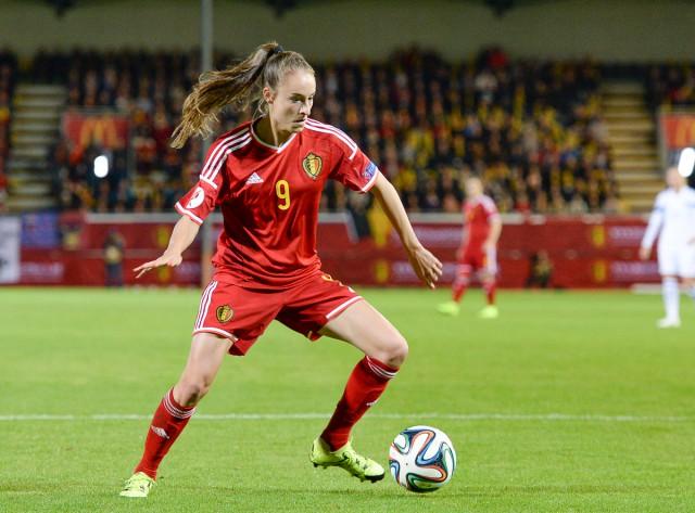 Tessa Wullaert, die zich in Leuven nog beperkte tot koningin van de assists lukte nu zelf twee goals tegen Bosnië-Herzegovina! Foto - David Catry