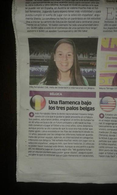 Nog een artikel rond Ines Fernandez Gonzalez in Marca onder de titel 'Una flamenca bajo los tres palos belgas'. (copyright) Marca