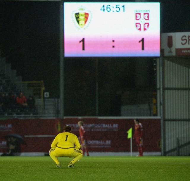 België - Servië: 1-1 was de stand vlak na de rust maar ook de eindstand! Foto - Dirk Vuylsteke