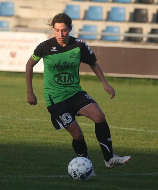 Marie Meunier, goed voor 3 doelpunten in het gelijkspel van Sibret tegen Wuustwezel. Foto - Paul Dijkmans