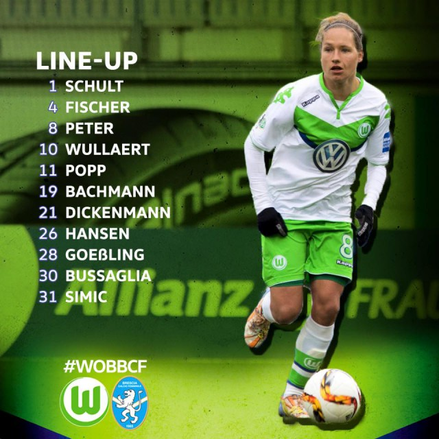 De opstelling van VfL Wolfsburg voor het thuisduel tegen Brescia! Foto - (c) VfL Wolfsburg