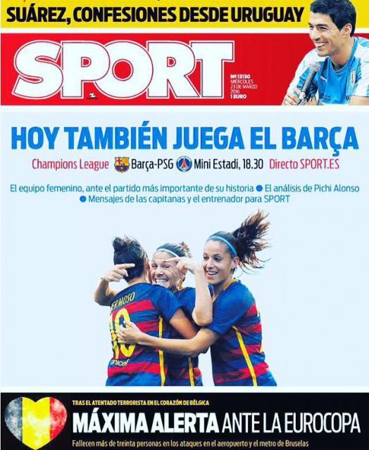 Het vrouwenteam van FC Barcelona staat vandaag op de voorpagina van de krant in Spanje!