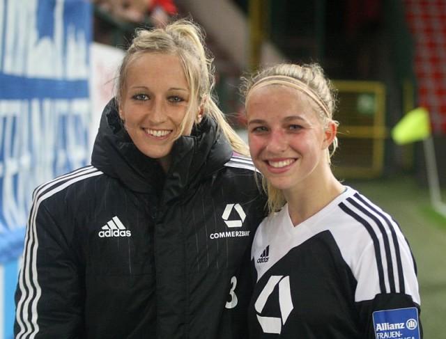 De 'Belgen' Kathy Hendrich (links) en Jackie Groenen (rechts) kwamen eveneens in actie met 1.FFC Frankfurt op bezoek bij VfL Wolfsburg! Foto - Paul Dijkmans