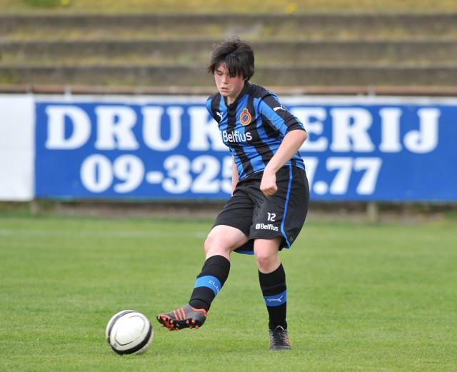 Sharon Desaever lukte een dubbel voor Club Brugge op bezoek bij Svelta Melsele. Foto - David Catry