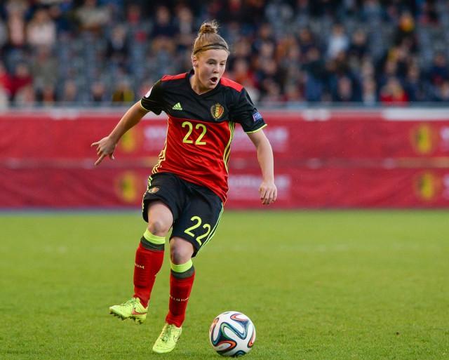 Laura Deloose van RSC Anderlecht voelde zich in haar sas op de rechtsachter bij de Belgian Red Flames! Foto - David Catry
