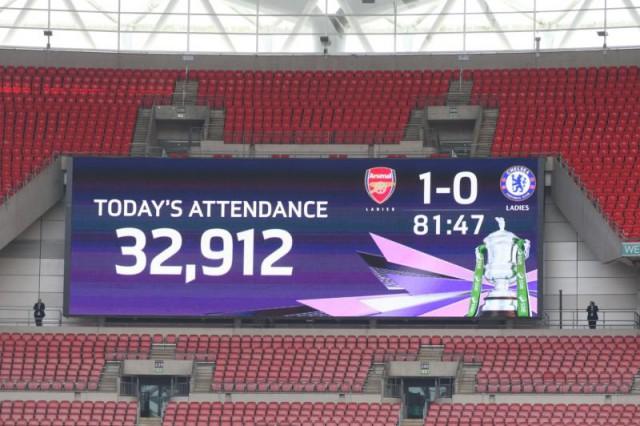 Het nieuwe record aantal toeschouwers voor een FA Women's Cup Final! Foto - Paul Dijkmans