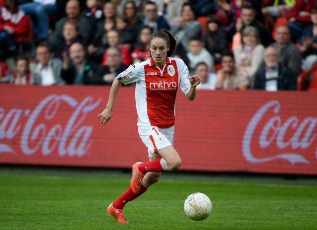 Tessa Wullaert tijdens haar laatste officiële wedstrijd voor Standard in de Women's BeNeLeague tegen PSV. Foto - Sportpix.be/David Catry