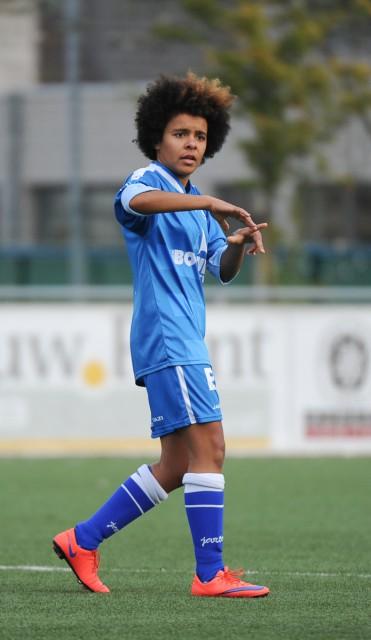 Kassandra Ndoutou Eboa Missipo veroverde na haar eerste seizoen bij KAA Gent Ladies in de Super League haar eerste selektie voor de Belgian Red Flames! Foto - Sportpix.be/Dirk Vuylsteke