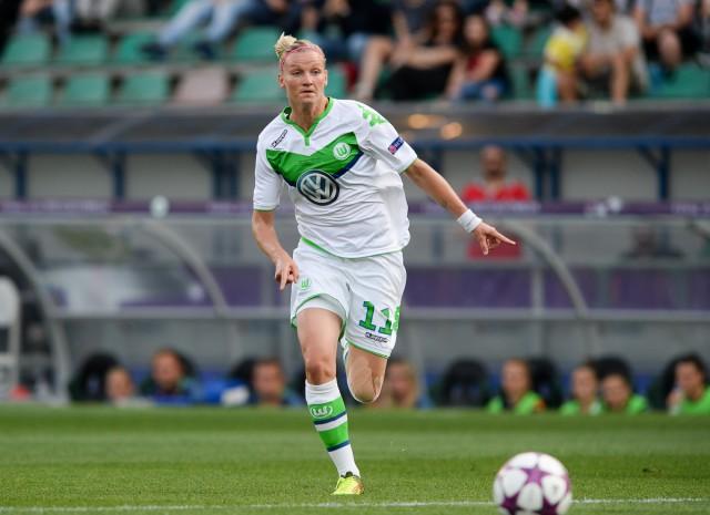 Alexandra Popp lukte de gelijkmaker voor VfL Wolfsburg in de UWCL-finale 2016 tegen Olympique Lyonnais! Foto - Sportpix.be/David Catry