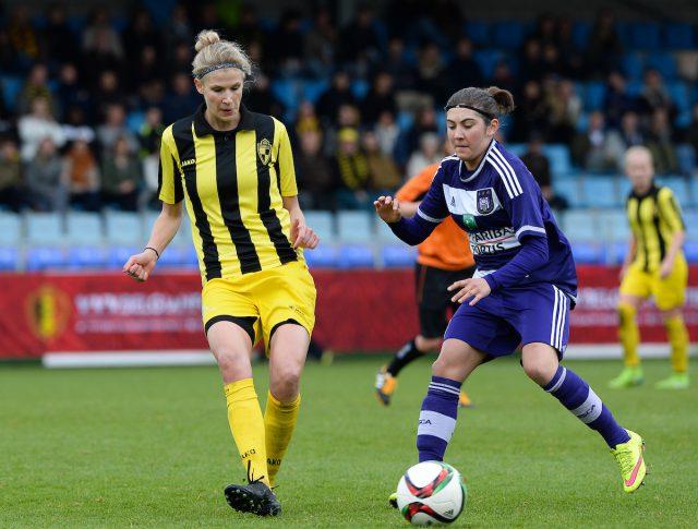 Justine Vanhaevermaet tijdens de recente bekerfinale met Lierse tegen RSC Anderlecht in Westerlo. Foto - Sportpix.be/David Catry