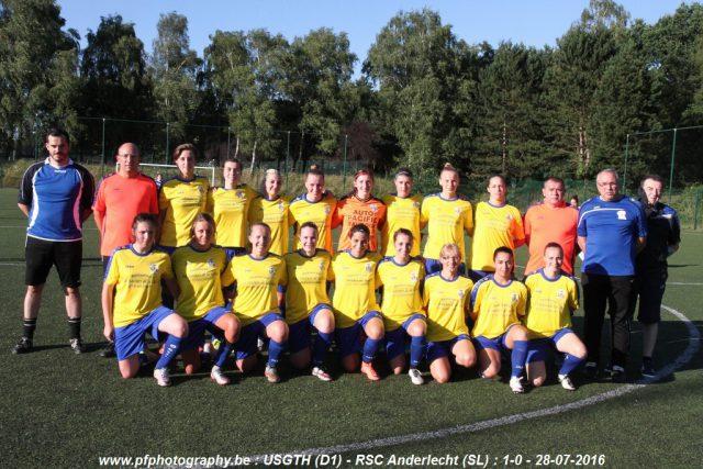 USGTH Ladies voor de aftrap van het oefenduel tegen RSC Anderlecht! Foto - Patrick Ferriol / Pfphotography.be