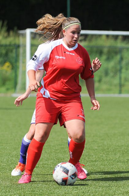 Valérie Jansen scoorde het winnende doelpunt voor FWS Woluwe thuis tegen Merkem! Foto - Sportpix.be/Dirk Vuylsteke