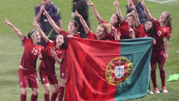 De vreugde bij Portugal na de kwalificatie voor het EK 2017! Foto - (c) Vrouwenteam.be / MaMPict